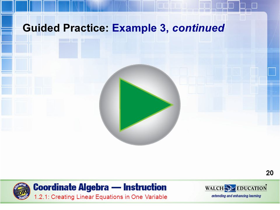 Guided Practice: Example 3, continued 1.2.1: Creating Linear Equations in One Variable 20