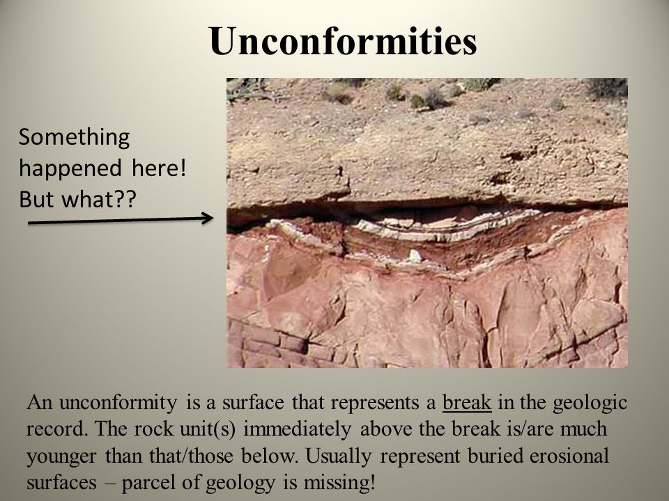 Concept Review: Relative Time -Principle of Lateral Continuity: Sediments and lava flows are generally laterally continuous unless something breaks th
