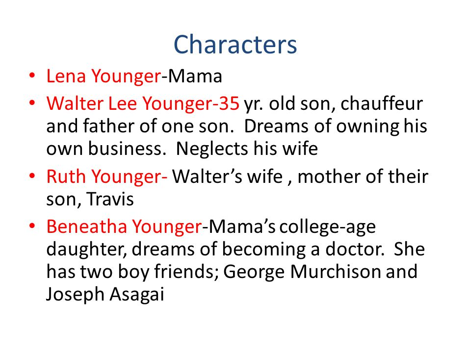 Characters Lena Younger-Mama Walter Lee Younger-35 yr.