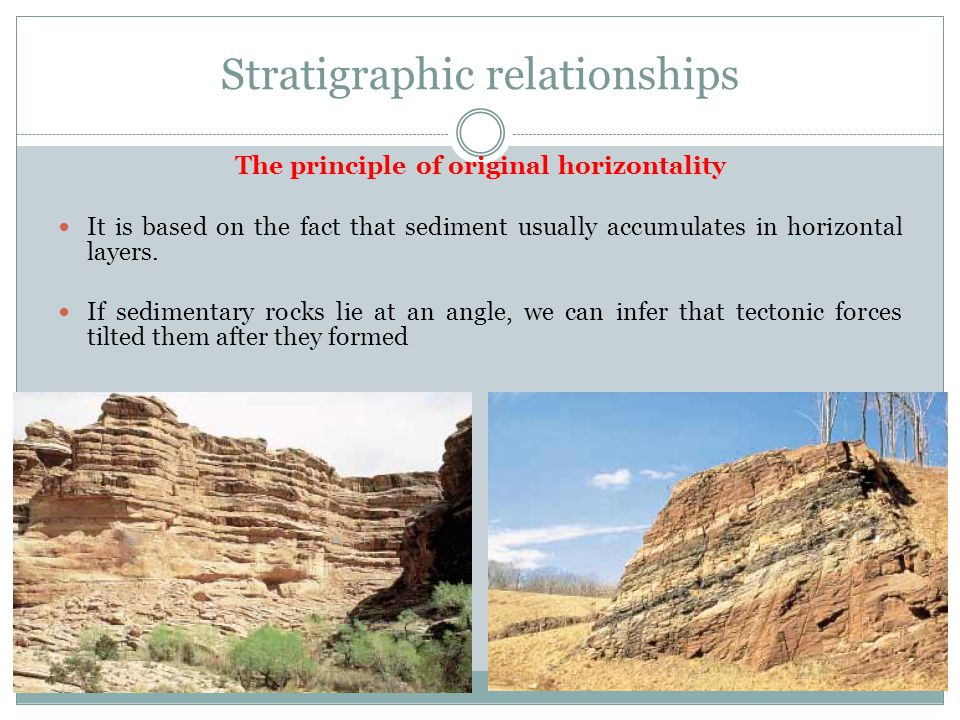Stratigraphic relationships The principle of original horizontality It is based on the fact that sediment usually accumulates in horizontal layers. If
