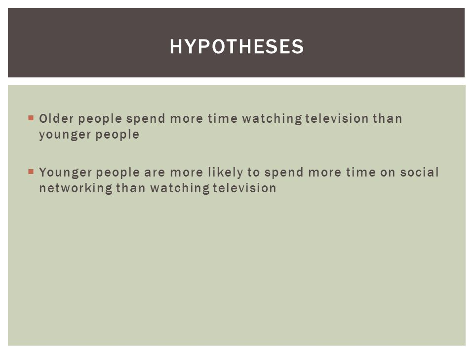  Older people spend more time watching television than younger people  Younger people are more likely to spend more time on social networking than watching television HYPOTHESES
