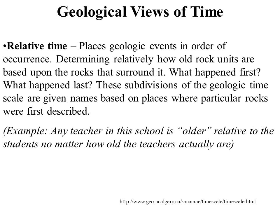 Relative time – Places geologic events in order of occurrence.