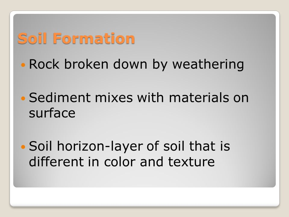 Soil Formation Rock broken down by weathering Sediment mixes with materials on surface Soil horizon-layer of soil that is different in color and texture
