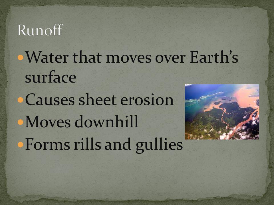 Erosion creates valleys, waterfalls, flood plains, meanders, oxbow lakes Deposition creates alluvial fans, deltas, add soil to flood plain