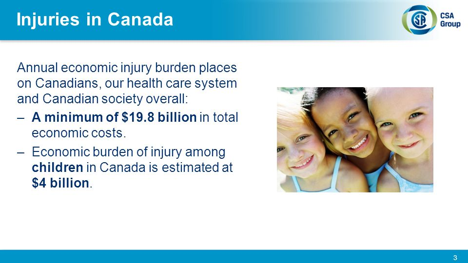 Child and Youth Injury in Canada Unintentional injuries are the leading cause of death among Canadian children and youth (1 to 19 years of age) In 2005, 720 young Canadians (19 years and younger) died as a result of injuries: a reduction of just over 40% since 1990, due primarily to the decline in motor vehicle traffic collision deaths.