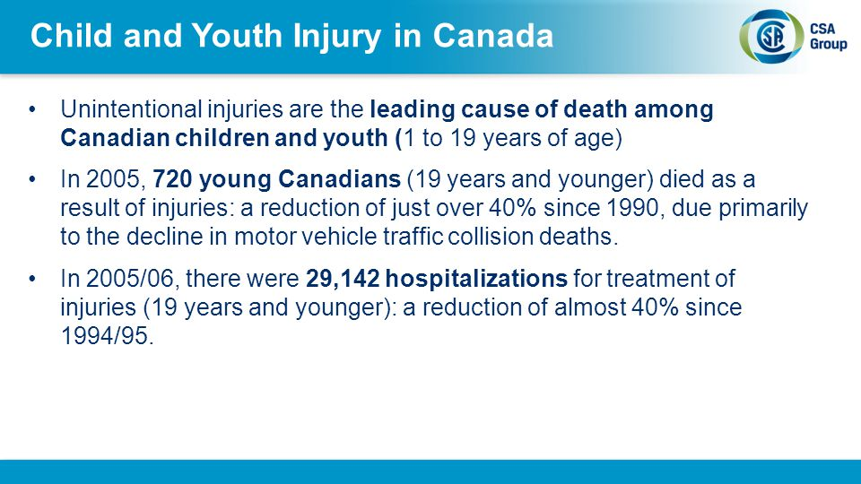 Child and Youth Injury in Canada Between 1990 and 2007 more than 1.6 million injuries were treated in the emergency departments of the 16 hospitals participating in CHIRPP (ages 19 years and younger).