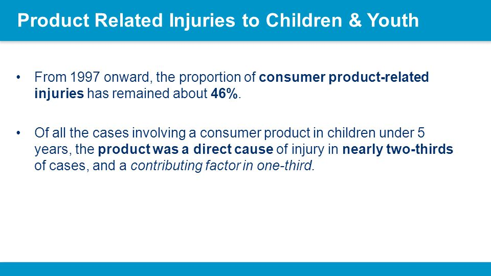 Product Related Injuries to Children & Youth The 3 most frequent product categories as a direct cause of injury, from 0 to 4 years, are: –tables (17.6%), –other furniture items (15.3%) * all furniture excluding tables and beds, and –toys (7.1%).