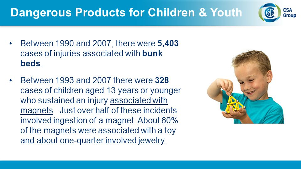 Dangerous Products for Children & Youth Between 1990 and 2007 there were 2,192 baby walker related injuries among children aged 5-14 months, accounting for 2.6% of all injury events among this age group Magnets, bunk beds, trampolines and other furniture are all items that were not regulated under the Hazardous Products Act.