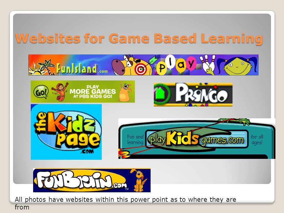 Websites for Game Based Learning All photos have websites within this power point as to where they are from