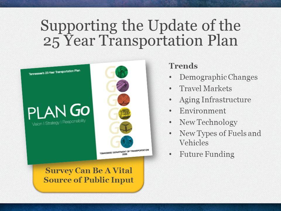 Supporting the Update of the 25 Year Transportation Plan Trends Demographic Changes Travel Markets Aging Infrastructure Environment New Technology New Types of Fuels and Vehicles Future Funding Survey Can Be A Vital Source of Public Input