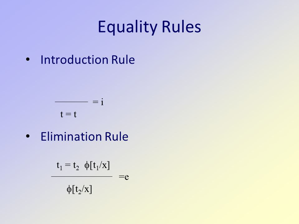 Equality Rules Introduction Rule Elimination Rule = i t = t t 1 = t 2  [t 1 /x] =e  [t 2 /x]