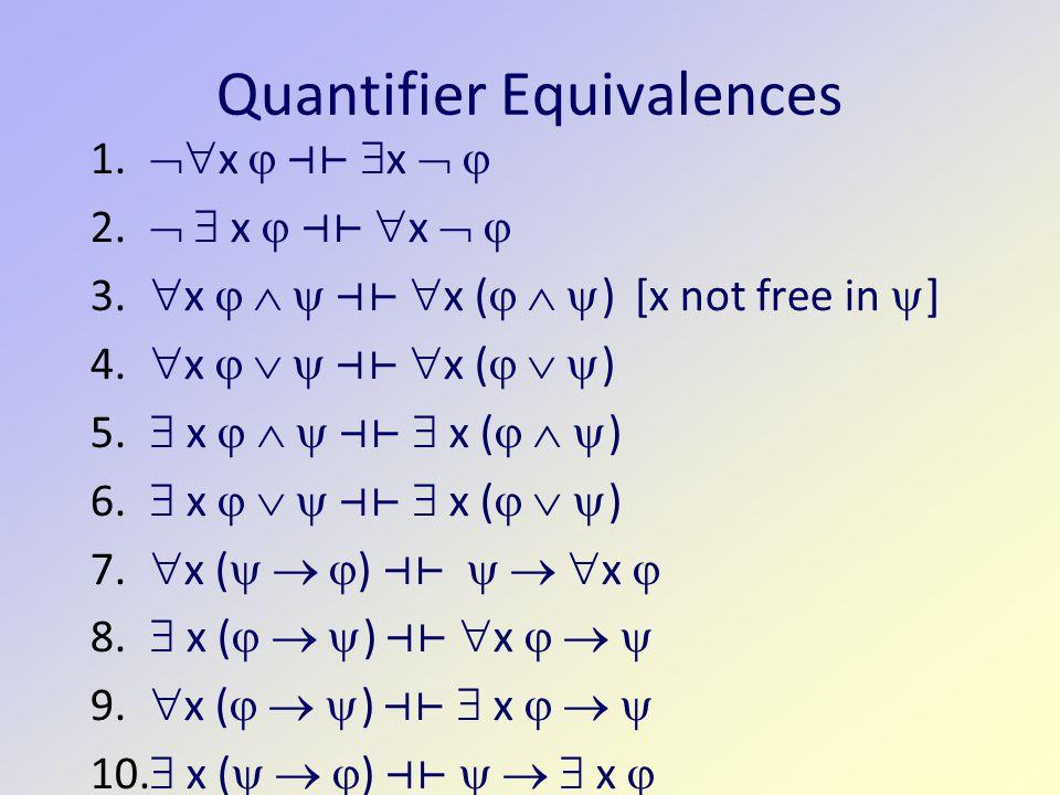 Quantifier Equivalences