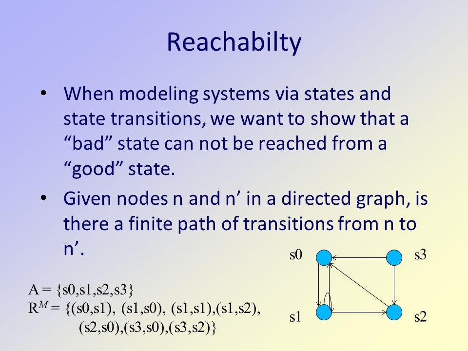 Reachabilty When modeling systems via states and state transitions, we want to show that a bad state can not be reached from a good state.