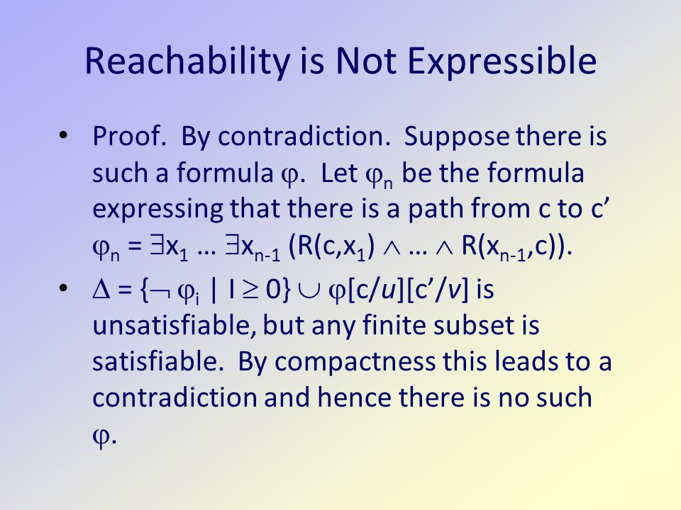 Reachability is Not Expressible Proof. By contradiction.