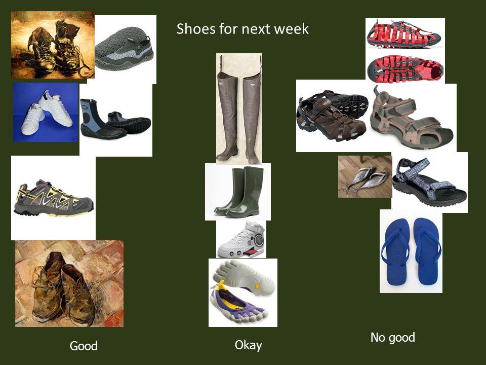 Shoes for next week Good No good Okay