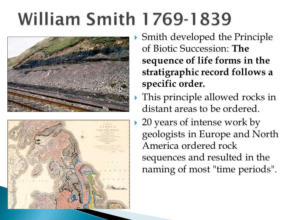  Smith developed the Principle of Biotic Succession: The sequence of life forms in the stratigraphic record follows a specific order.  This principl