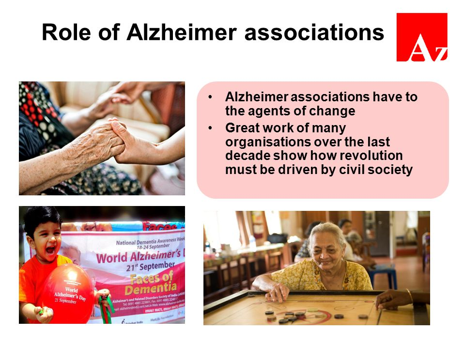 Role of Alzheimer associations Alzheimer associations have to the agents of change Great work of many organisations over the last decade show how revo