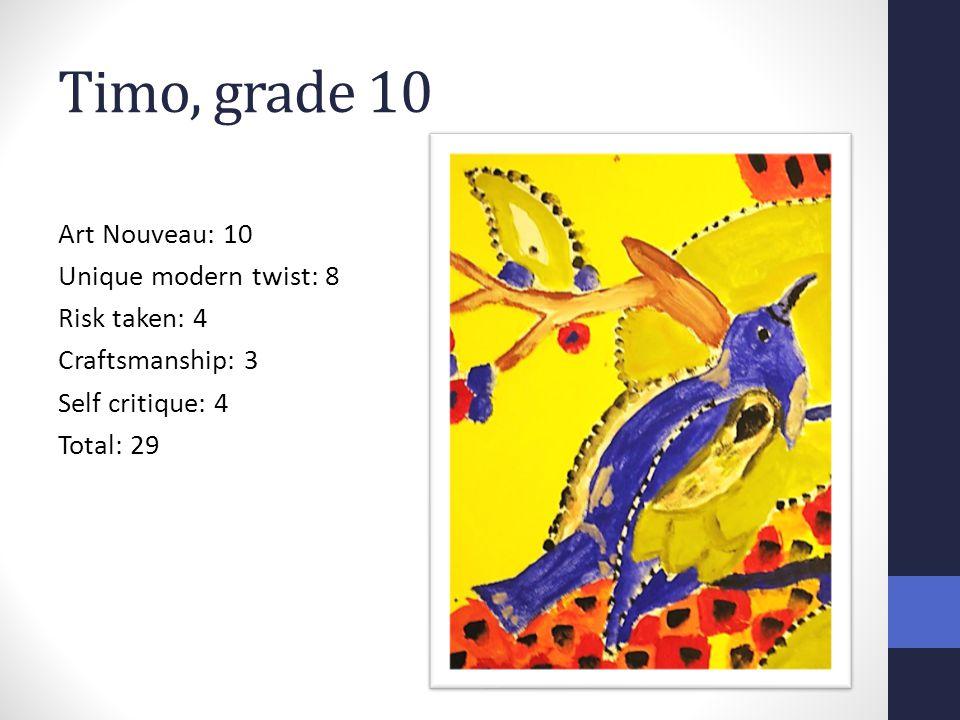 Timo, grade 10 Art Nouveau: 10 Unique modern twist: 8 Risk taken: 4 Craftsmanship: 3 Self critique: 4 Total: 29