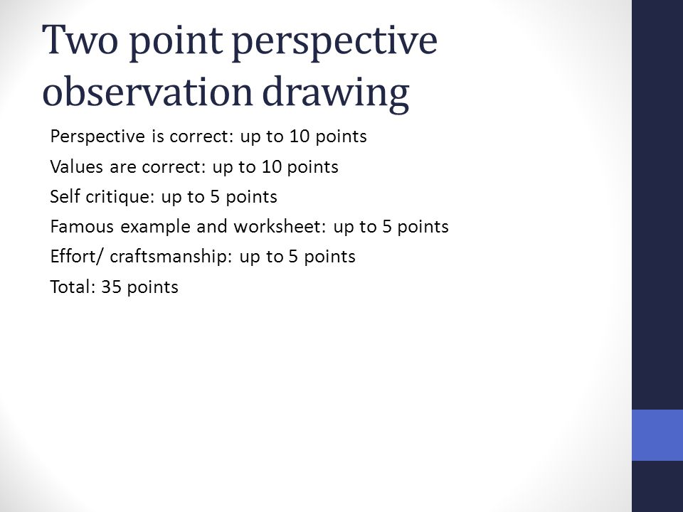 Two point perspective observation drawing Perspective is correct: up to 10 points Values are correct: up to 10 points Self critique: up to 5 points Fa