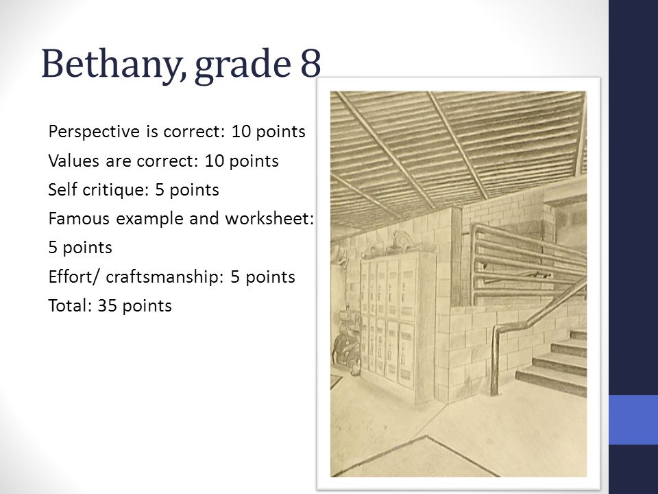 Bethany, grade 8 Perspective is correct: 10 points Values are correct: 10 points Self critique: 5 points Famous example and worksheet: 5 points Effort