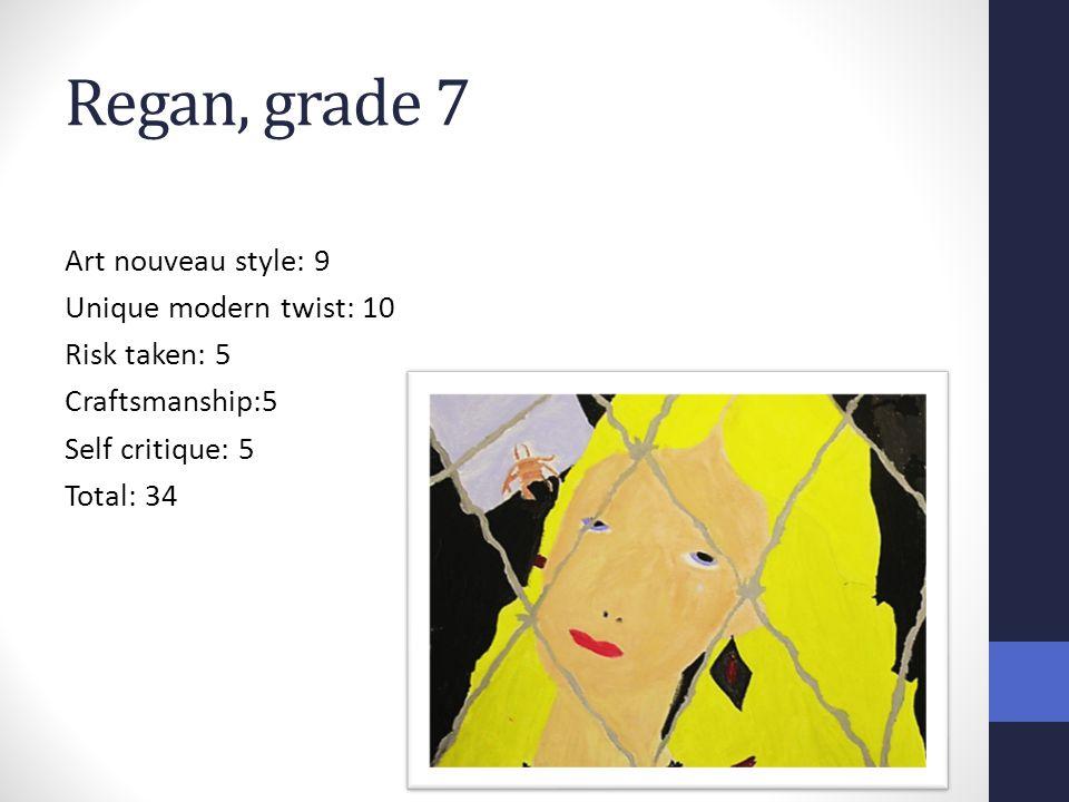 Regan, grade 7 Art nouveau style: 9 Unique modern twist: 10 Risk taken: 5 Craftsmanship:5 Self critique: 5 Total: 34