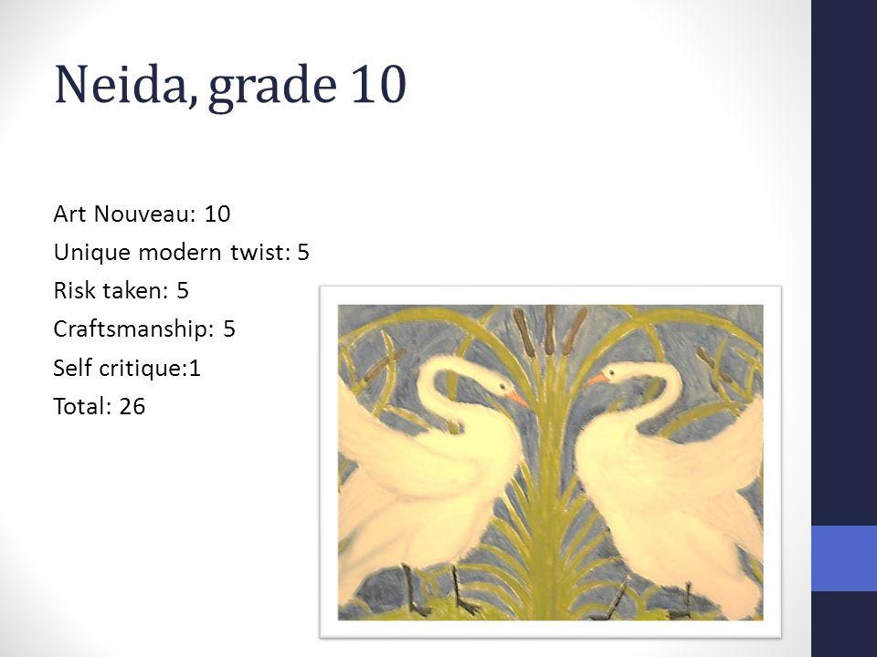 Neida, grade 10 Art Nouveau: 10 Unique modern twist: 5 Risk taken: 5 Craftsmanship: 5 Self critique:1 Total: 26