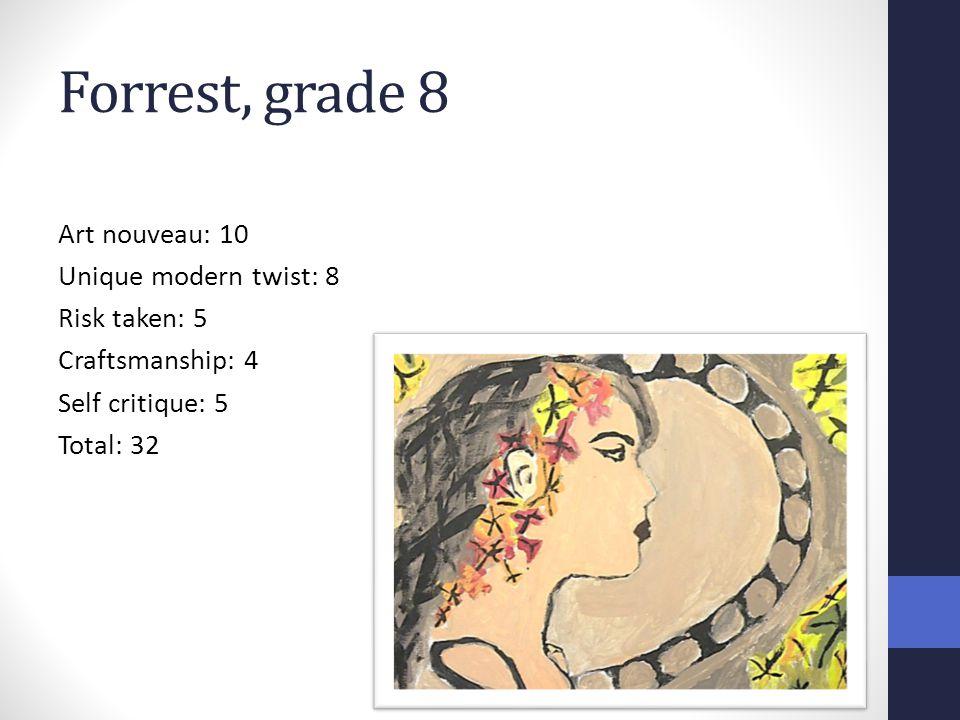 Forrest, grade 8 Art nouveau: 10 Unique modern twist: 8 Risk taken: 5 Craftsmanship: 4 Self critique: 5 Total: 32