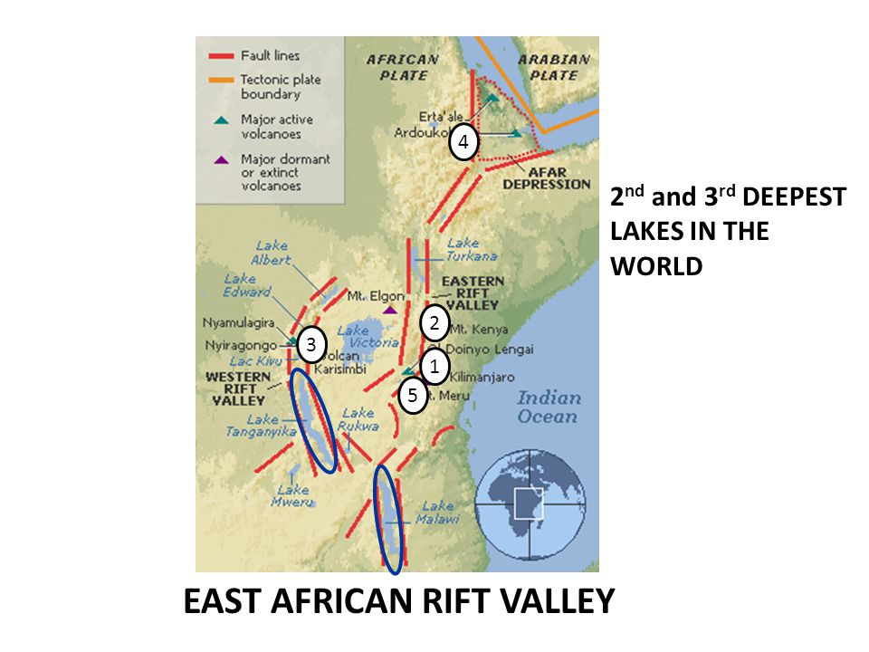 EAST AFRICAN RIFT VALLEY 1 2 3 4 5 2 nd and 3 rd DEEPEST LAKES IN THE WORLD