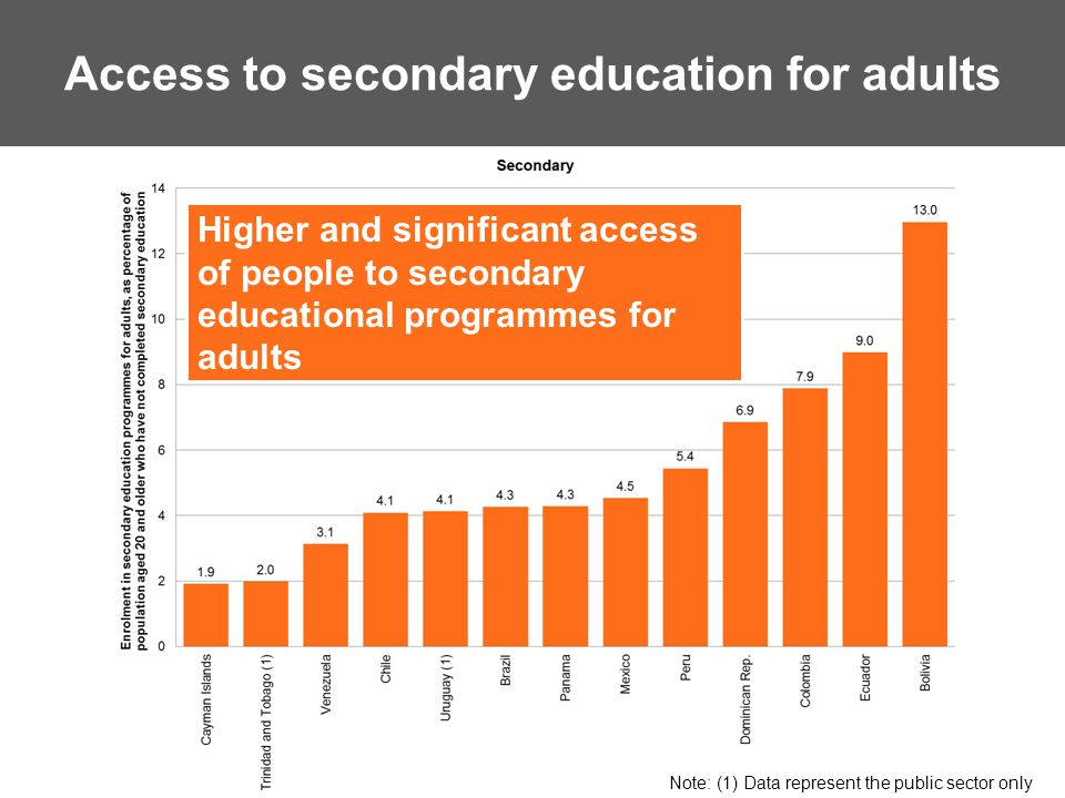 Access to secondary education for adults Higher and significant access of people to secondary educational programmes for adults Note: (1) Data represent the public sector only