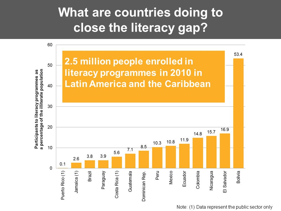 Women have a prominent presence in literacy programmes Note: (1) Data represent the public sector only