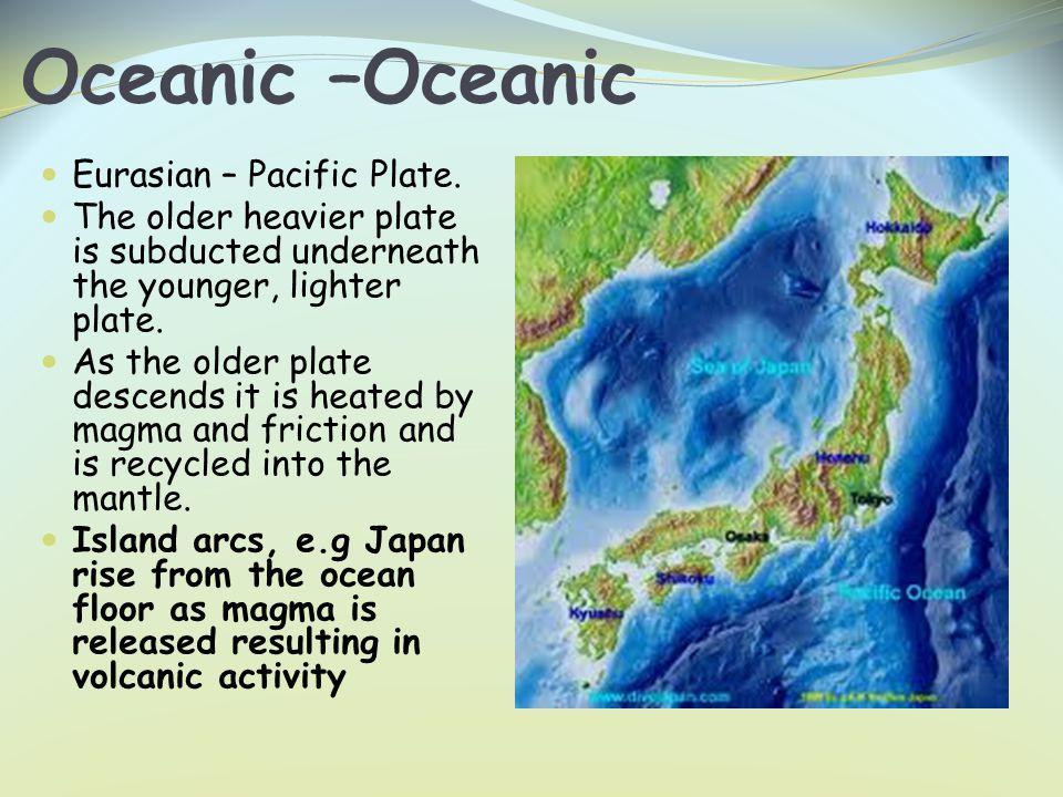 Oceanic –Oceanic Eurasian – Pacific Plate.