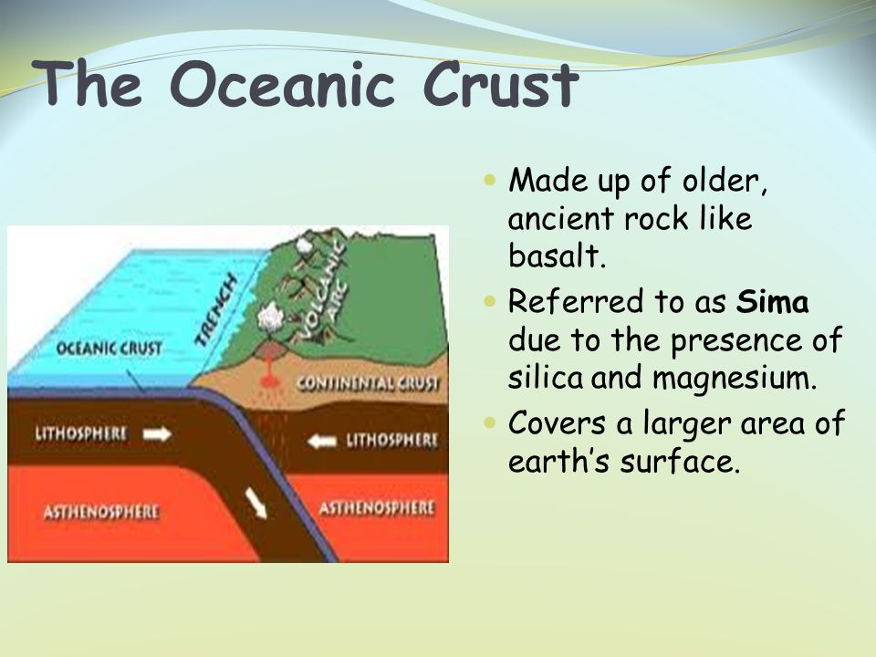 The Oceanic Crust Made up of older, ancient rock like basalt.