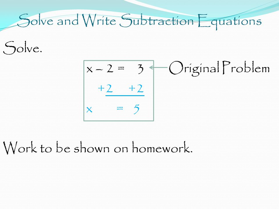 Solve and Write Subtraction Equations Solve.