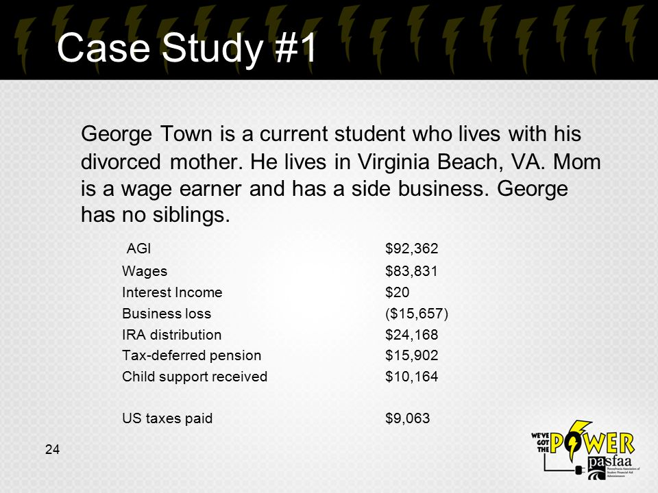 Case Study #1 George Town is a current student who lives with his divorced mother. He lives in Virginia Beach, VA. Mom is a wage earner and has a side