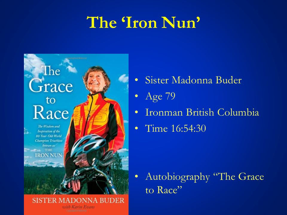 The 'Iron Nun' Sister Madonna Buder Age 79 Ironman British Columbia Time 16:54:30 Autobiography The Grace to Race