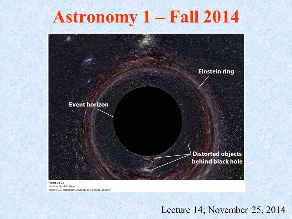 Astronomy 1 – Fall 2014 Lecture 14; November 25, 2014