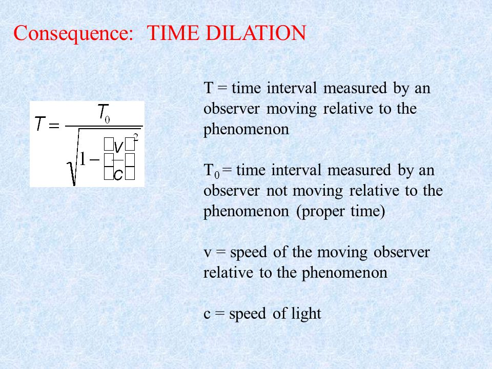 Consequence: TIME DILATION T = time interval measured by an observer moving relative to the phenomenon T 0 = time interval measured by an observer not moving relative to the phenomenon (proper time) v = speed of the moving observer relative to the phenomenon c = speed of light