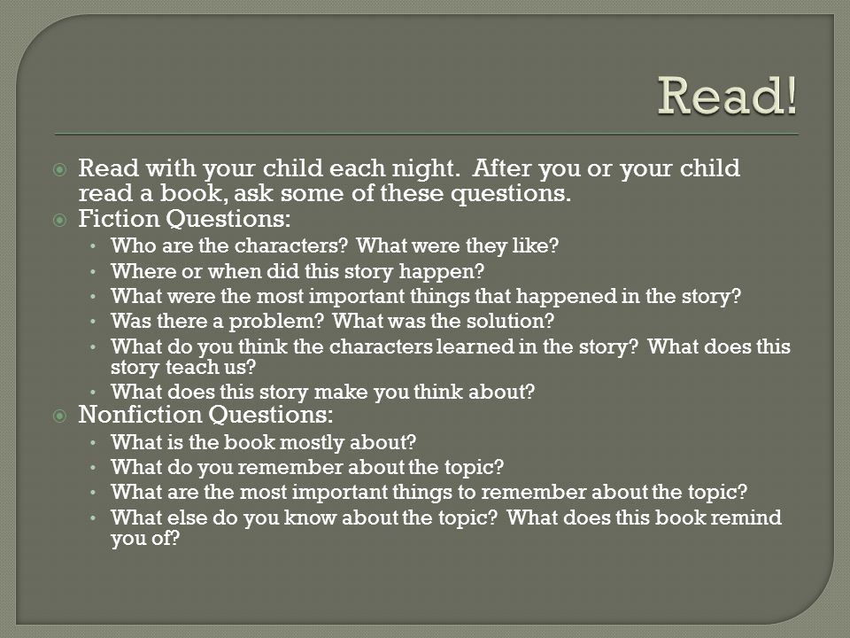  Read with your child each night.