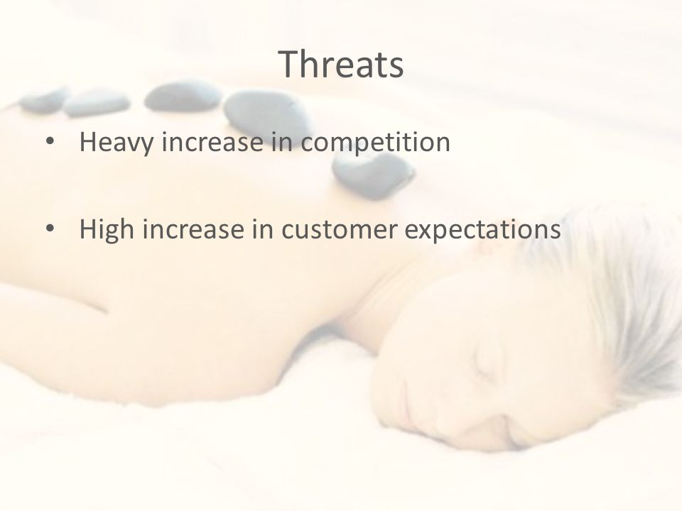 Threats Heavy increase in competition High increase in customer expectations