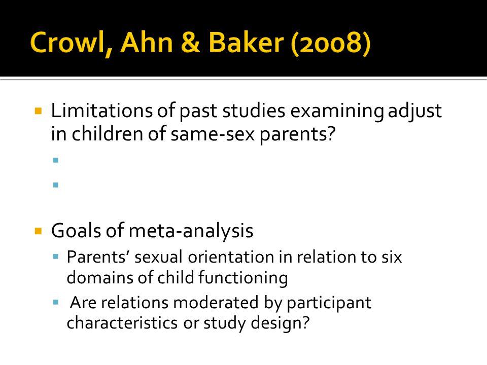  Limitations of past studies examining adjust in children of same-sex parents?   Goals of meta-analysis  Parents' sexual orientation in relation t