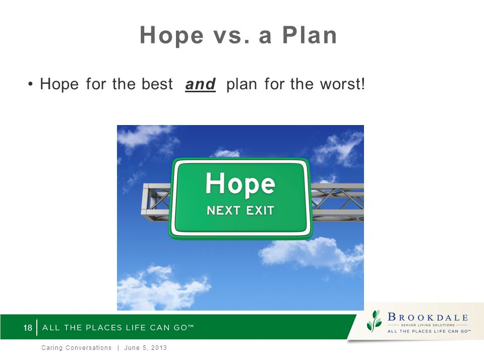 Hope vs. a Plan Hope for the best and plan for the worst! 18 Caring Conversations | June 5, 2013
