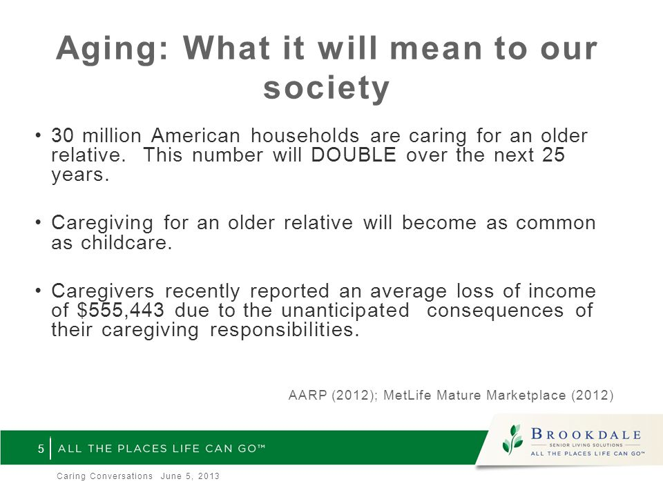 Aging: What it will mean to our society 30 million American households are caring for an older relative.