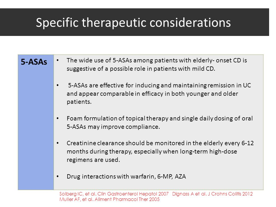 Specific therapeutic considerations 5-ASAs The wide use of 5-ASAs among patients with elderly- onset CD is suggestive of a possible role in patients w