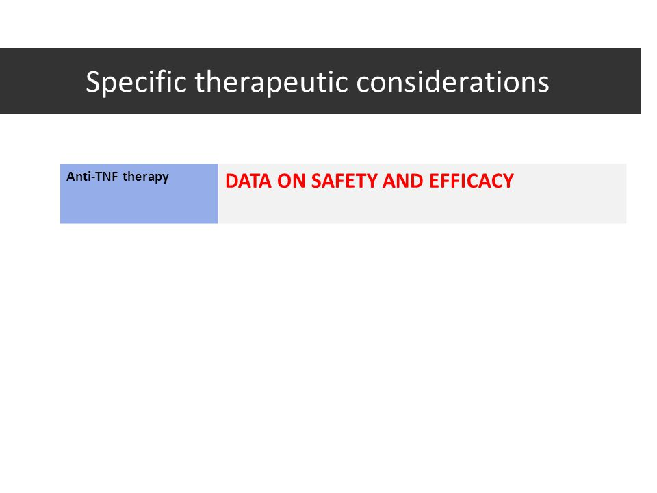 Specific therapeutic considerations Anti-TNF therapy DATA ON SAFETY AND EFFICACY