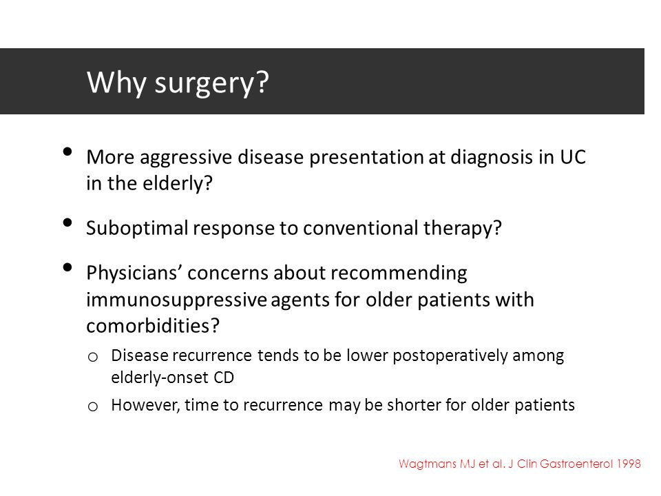 Why surgery? More aggressive disease presentation at diagnosis in UC in the elderly? Suboptimal response to conventional therapy? Physicians' concerns