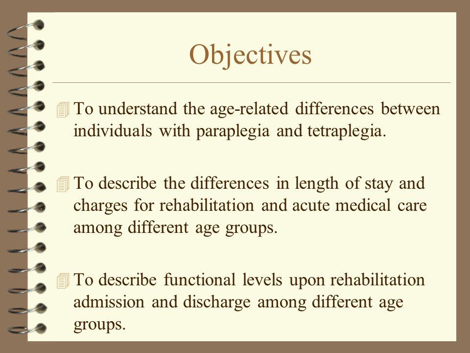 Objectives 4 To understand the age-related differences between individuals with paraplegia and tetraplegia.