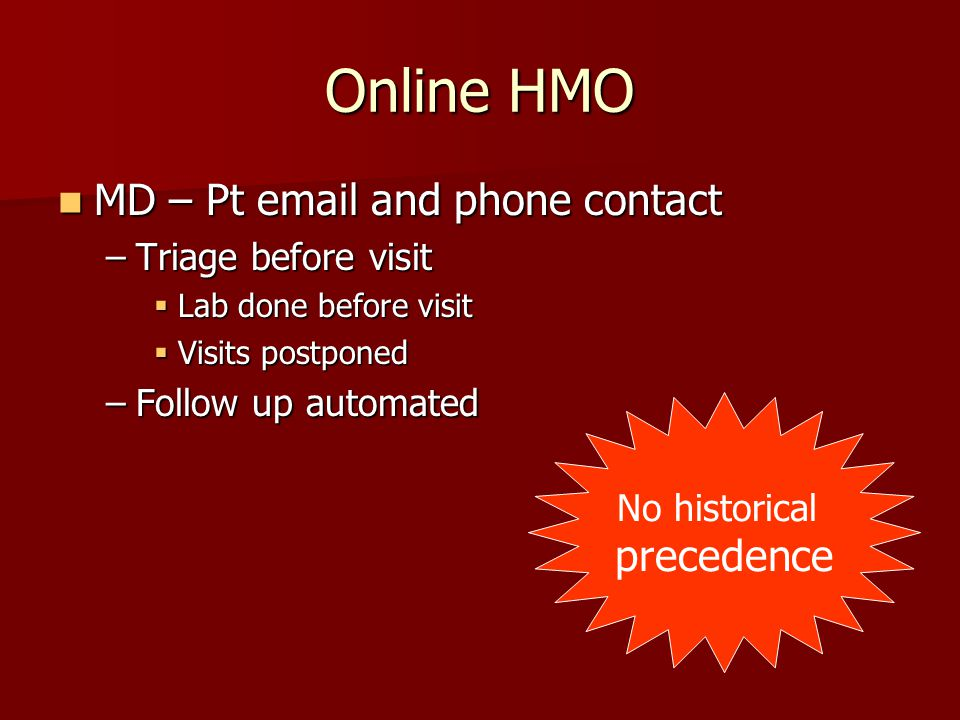 Online HMO MD – Pt email and phone contact MD – Pt email and phone contact –Triage before visit  Lab done before visit  Visits postponed –Follow up automated No historical precedence