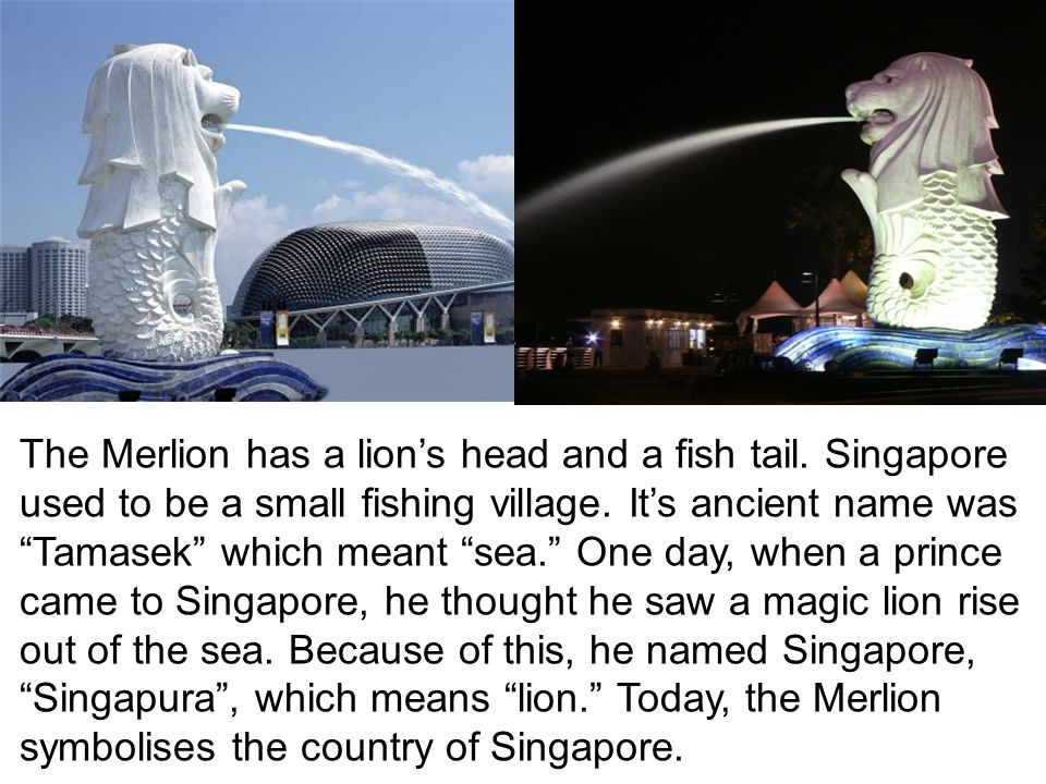 The Merlion has a lion's head and a fish tail. Singapore used to be a small fishing village.
