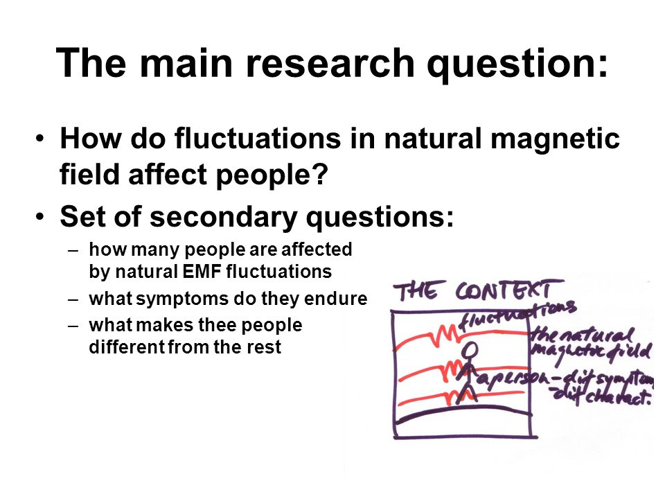 The main research question: How do fluctuations in natural magnetic field affect people.