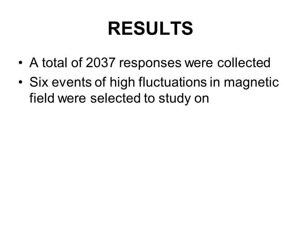 RESULTS A total of 2037 responses were collected Six events of high fluctuations in magnetic field were selected to study on